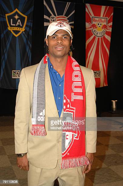 Julius James poses for photo after being selected 9th by Toronto FC in the MLS Super Draft on January 18 2008 at the Baltimore Convention Center in...