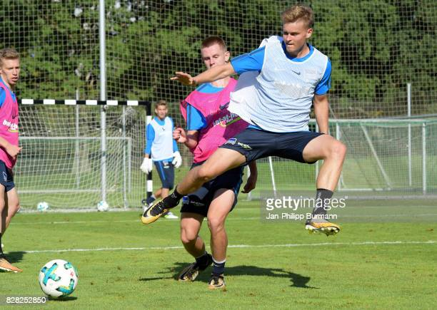 Julius Kade and Maximilian Mittelstaedt of Hertha BSC during a training session on August 9 2017 in Berlin Germany