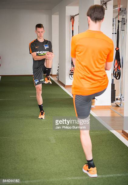 Julius Kade Hendrik Vieth of Hertha BSC during the training session at Schenkendorfplatz on July 01 2016 in Berlin Germany