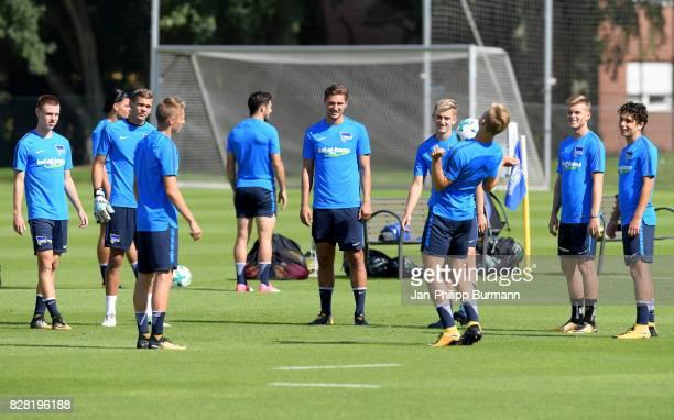 Julius Kade Leon Schaffran Palko Dardai Sinan Kurt Arne Maier Maximilian Mittelstaedt and Maurice Covic of Hertha BSC during the training on august 9...