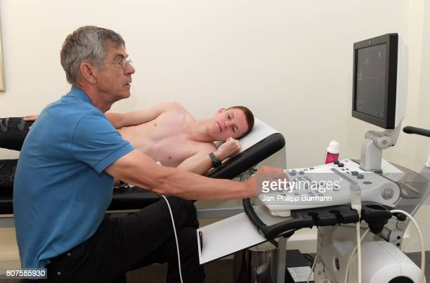 Julius Kade of Hertha BSC and Dr Klaus Neye during the medicine check up on july 4 2017 in Berlin Germany