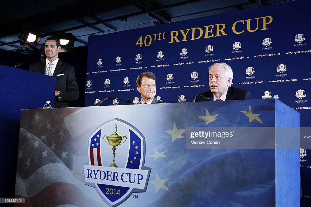 Julius Mason, (L) PGA of America Communications Director and Tom Watson (c) look on as Ted Bishop, President of the PGA of America speaks during the 2014 U.S. Ryder Cup Captain's News Conference held at the Empire State Building on December 13, 2012 in New York City.