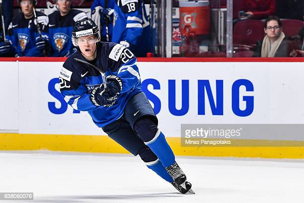 Julius Mattila of Team Finland skates during the 2017 IIHF World Junior Championship relegation game against Team Latvia at the Bell Centre on...