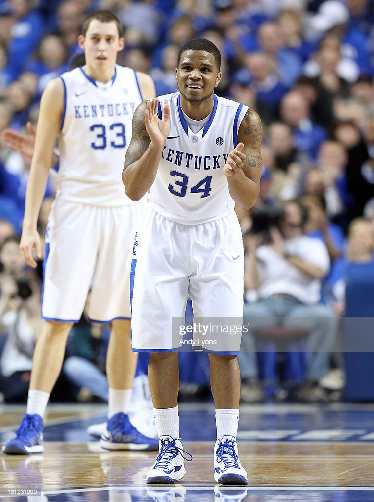 Julius Mays #34 of the Kentucky Wildcats celebrates during the game against the Auburn Tigers at Rupp Arena on February 9, 2013 in Lexington, Kentucky.