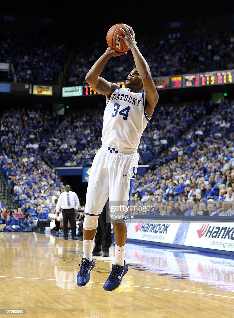 Julius Mays #34 of the Kentucky Wildcats shoots the ball during the game against the Samford Bulldogs at Rupp Arena on December 4, 2012 in Lexington, Kentucky. Kentucky won 88-56.