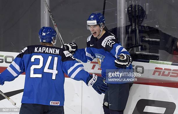 Julius Nattinen of Finland celebrates after scoring the 43 goal with Kasperi Kapanen during the 2016 IIHF World Junior Ice Hockey Championship...