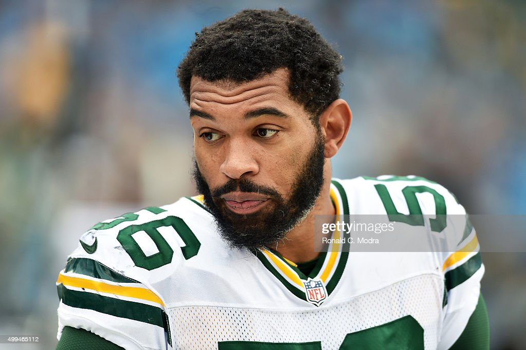 Julius Peppers of the Green Bay Packers looks on during a NFL game against the Carolina Panthers at Bank Of America Stadium on November 8 2015 in...
