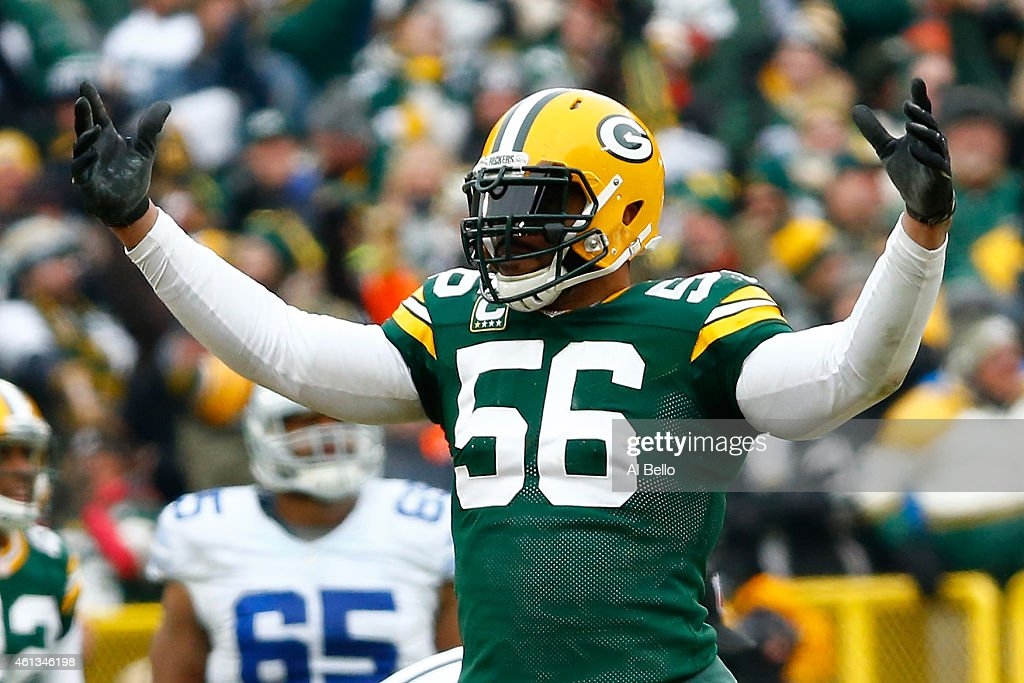 Julius Peppers of the Green Bay Packers reacts during the 2015 NFC Divisional Playoff game against the Dallas Cowboys at Lambeau Field on January 11...