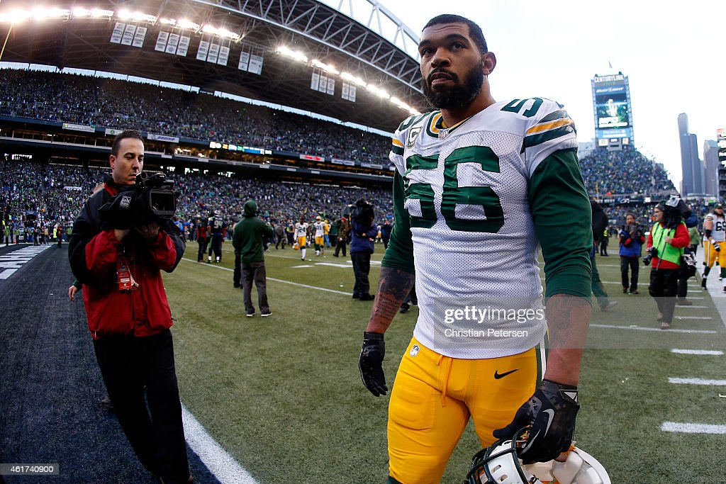 Julius Peppers of the Green Bay Packers stands on the sidelines after losing the 2015 NFC Championship game to the Seattle Seahawks at CenturyLink...