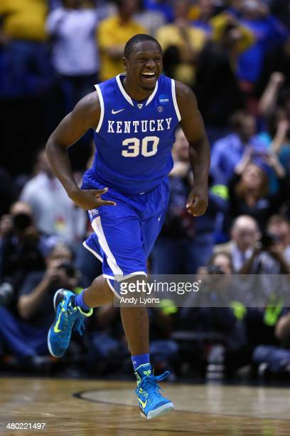 Julius Randle of the Kentucky Wildcats celebrates after defeating the Wichita State Shockers 78 to 76 during the third round of the 2014 NCAA Men's...