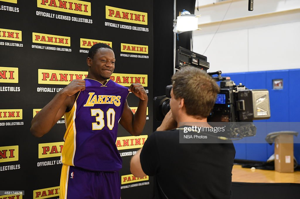 Julius Randle #30 of the Los Angeles Lakers behind the scenes during the 2014 NBA rookie photo shoot on August 3, 2014 at the Madison Square Garden Training Facility in Tarrytown, New York.