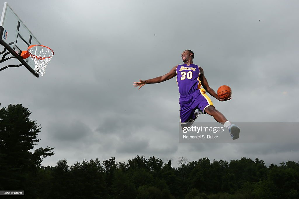 Julius Randle of the Los Angeles Lakers poses for a portrait during the 2014 NBA rookie photo shoot on August 3 2014 at the Madison Square Garden...