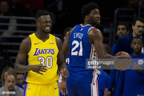 Julius Randle of the Los Angeles Lakers reacts after being called for a foul against Joel Embiid of the Philadelphia 76ers in the second quarter at...