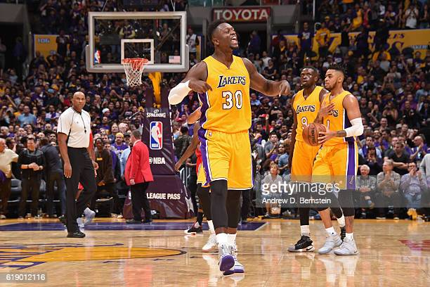 Julius Randle of the Los Angeles Lakers yells and celebrates during a game against the Houston Rockets on October 26 2016 at STAPLES Center in Los...
