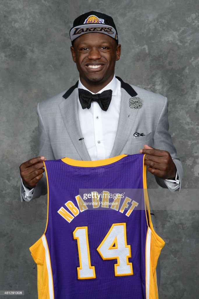 <a gi-track='captionPersonalityLinkClicked' href=/galleries/search?phrase=Julius+Randle&family=editorial&specificpeople=10784969 ng-click='$event.stopPropagation()'>Julius Randle</a>, the seventh pick overall in the NBA Draft by the Los Angeles Lakers, poses for a portrait during the 2014 NBA Draft at the Barclays Center on June 26, 2014 in the Brooklyn borough of New York City.