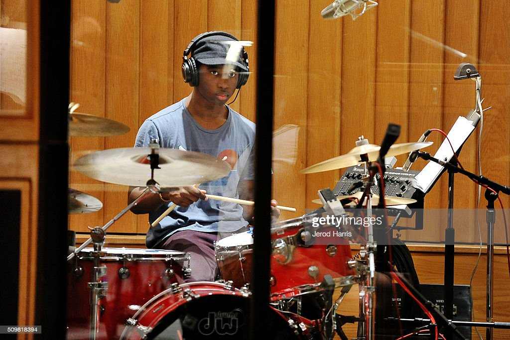 Julius Rodriguez at the GRAMMY Foundation(R)'s GRAMMY Camp(R) - Jazz Session studio recording at Capitol Studios & Mastering at Capitol Records Studio on February 12, 2016 in Hollywood, California.