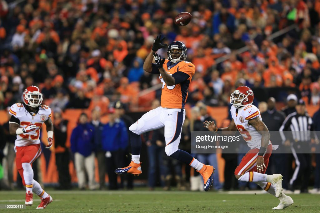 Julius Thomas #80 of the Denver Broncos completes a reception for a first down in the second quarter against the Kansas City Chiefs at Sports Authority Field at Mile High on November 17, 2013 in Denver, Colorado.