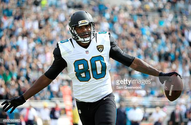 Julius Thomas of the Jacksonville Jaguars celebrates a touchdown following an interception during the game against the Houston Texans at EverBank...