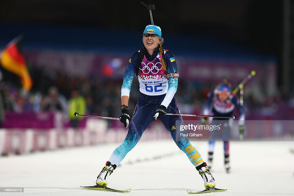 <a gi-track='captionPersonalityLinkClicked' href=/galleries/search?phrase=Juliya+Dzhyma&family=editorial&specificpeople=10101687 ng-click='$event.stopPropagation()'>Juliya Dzhyma</a> of Ukraine competes in the Women's 15 km Individual during day seven of the Sochi 2014 Winter Olympics at Laura Cross-country Ski & Biathlon Center on February 14, 2014 in Sochi, Russia.