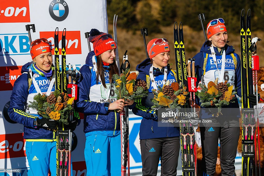 Juliya Dzhyma, Olga Abramova, Valj Semerenko,Olena Pidhrushna of Ukraine takes 3rd place during the IBU Biathlon World Cup Men's and Women's Relay on December 13, 2015 in Hochfilzen, Austria.