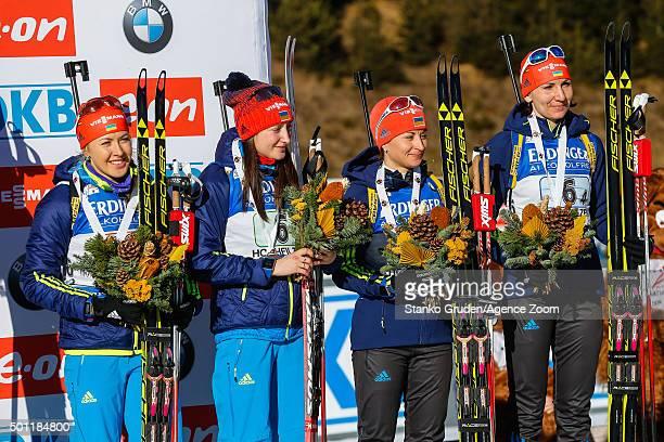 Juliya Dzhyma Olga Abramova Valj SemerenkoOlena Pidhrushna of Ukraine takes 3rd place during the IBU Biathlon World Cup Men's and Women's Relay on...