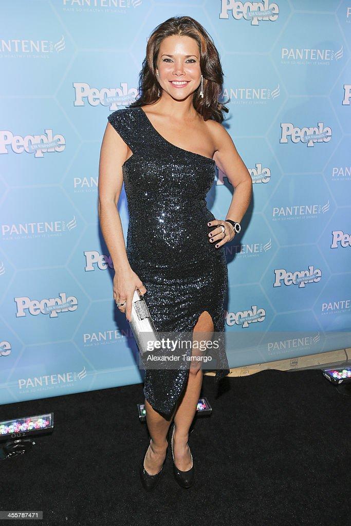 Jullye Gilliberti arrives at the Estrellas Del Ano De People En Espanol party at The James Royal Palm Hotel on December 12, 2013 in Miami, Florida.