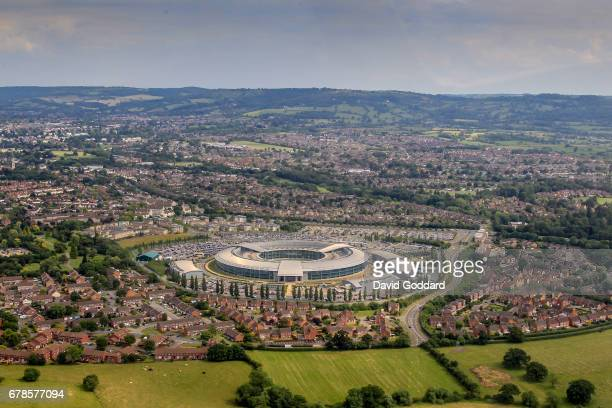 CHELTENHAM CHELTENHAM July 01 Aerial photograph of the Government Communications Headquarters also known as GCHQ Cheltenham Gloucestershire on July...