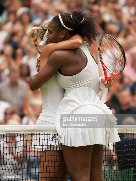 Angelique Kerber and Serena Williams embrace at the net after Williams defeated Kerber in the women's singles final during The Championships...