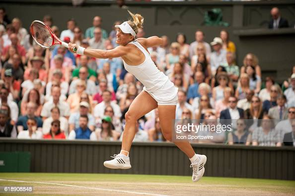 Angelique Kerber in action during the women's singles final during The Championships Wimbledon at the All England Lawn Tennis and Croquet Club in...