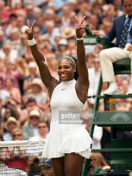Serena Williams celebrates winning the women's singles title during The Championships Wimbledon at the All England Lawn Tennis and Croquet Club in...