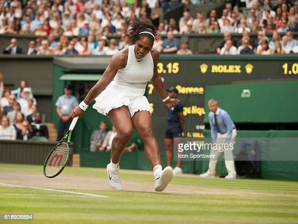 Serena Williams in action during the women's singles final during The Championships Wimbledon at the All England Lawn Tennis and Croquet Club in...