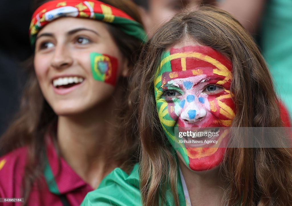 MARSEILLE, July 1, 2016-- Fans of Portugal cheer before the Euro 2016 quarterfinal match between Portugal and Poland in Marseille, France, June 30, 2016.
