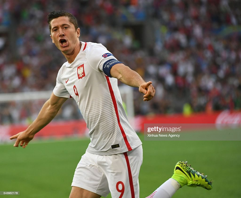 MARSEILLE, July 1, 2016 -- Robert Lewandowski of Poland celebrates after scoring during the Euro 2016 quarterfinal match between Portugal and Poland in Marseille, France, June 30, 2016.