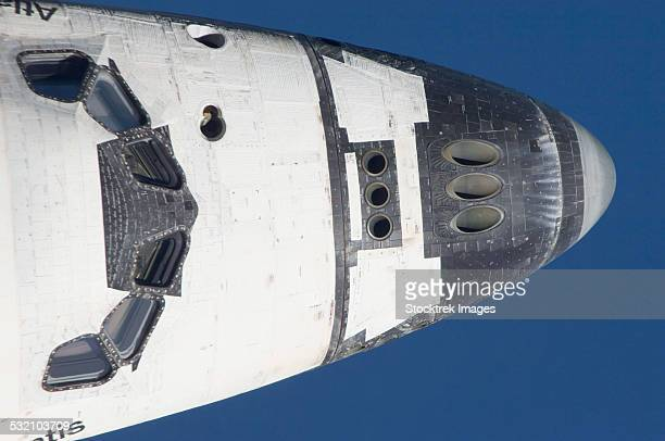July 10, 2011 - Close-up of the front section of space shuttle Atlantis in Earth orbit.