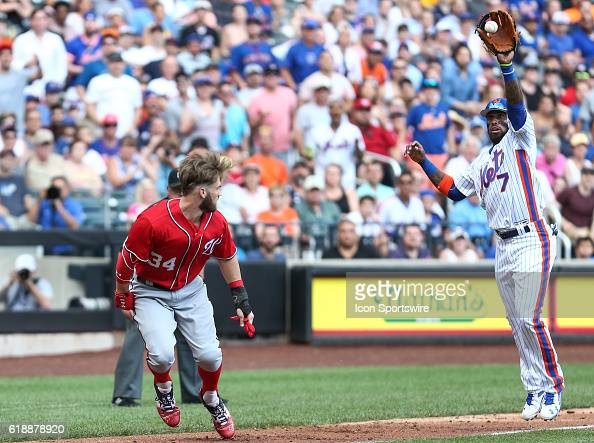 Washington Nationals Right fielder Bryce Harper [5424] is caught in a rundown between third and home and is ultimately tagged out by New York Mets...