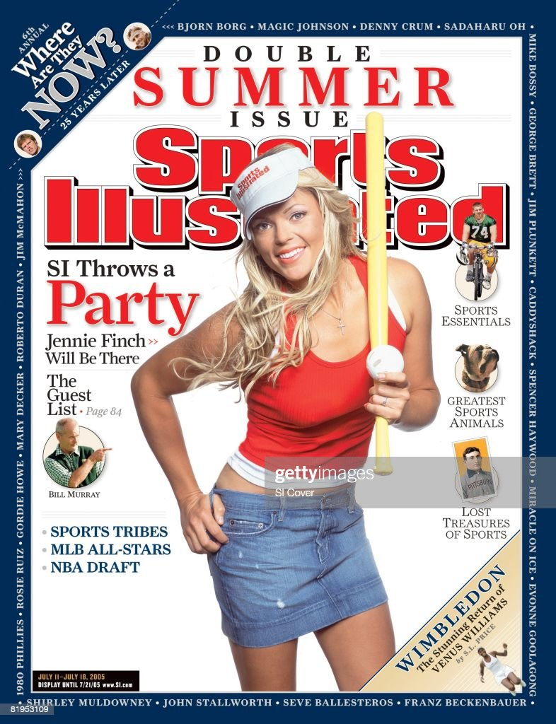 July 11 2005 July 18 2005 Sports Illustrated Cover Softball Casual portrait of Jennie Finch with wiffle ball and bat and SI visor Naperville IL...