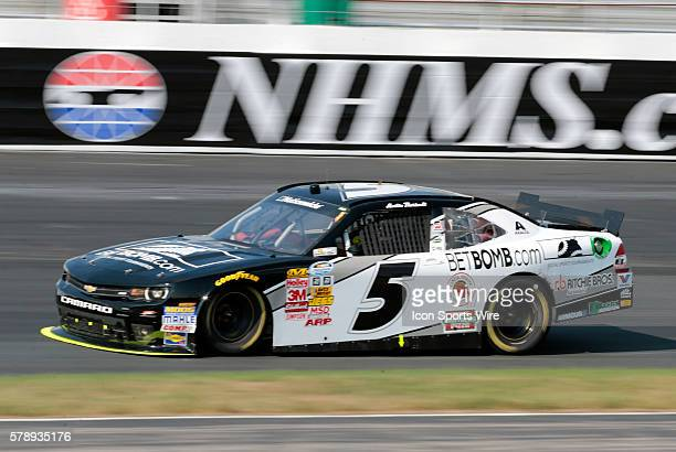 NASCAR Nationwide Series Austin Theriault driver of the BetBombcom Chevrolet during the StaGreen 200 at New Hampshire Motor Speedway in Loudon NH