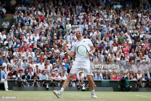 LONDON July 12 2017 Sam Querrey of the United States celebrates after the men's singles quarterfinals match with Andy Murray of Great Britain during...