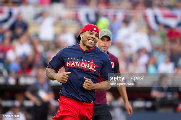 July 13 2014 rapper Nelly after hitting a home run at the AllStar Celebrity Softball game at Target Field in Minneapolis MN