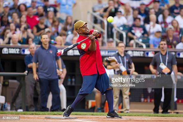 July 13 2014 rapper Sway at bat at the AllStar Celebrity Softball game at Target Field in Minneapolis MN