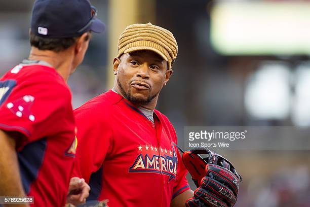 July 13 2014 rapper Sway talks to Fred Lynn at the AllStar Celebrity Softball game at Target Field in Minneapolis MN