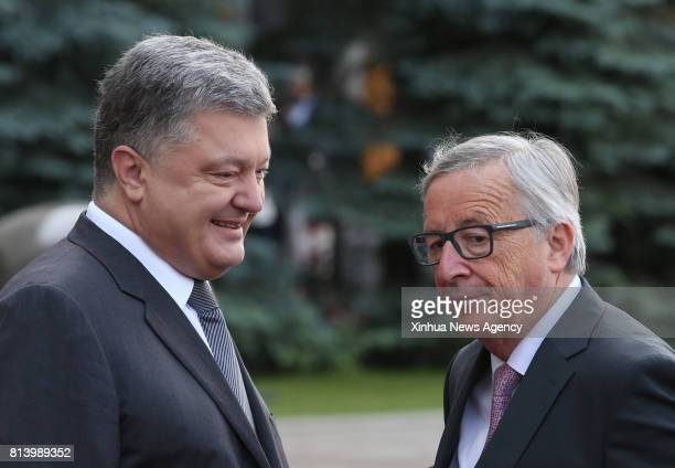 KIEV July 13 2017 Ukrainian President Petro Poroshenko welcomes European Commission President JeanClaude Juncker prior to a UkraineEU summit in Kiev...