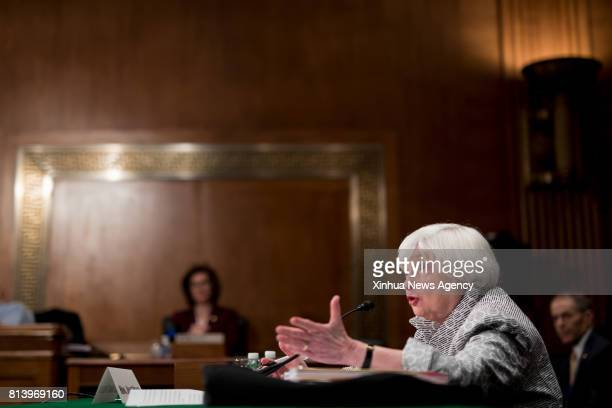 WASHINGTON July 13 2017 US Federal Reserve chairwoman Janet Yellen testifies at a hearing before the Senate Banking Houseing and Urban Affairs...