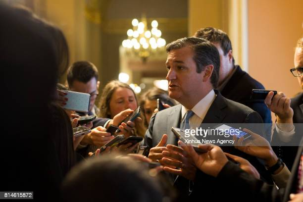 WASHINGTON July 13 2017 US Senator Ted Cruz speaks to journalists as he leaves a meeting on Capitol Hill in Washington DC July 13 2017 Senate...