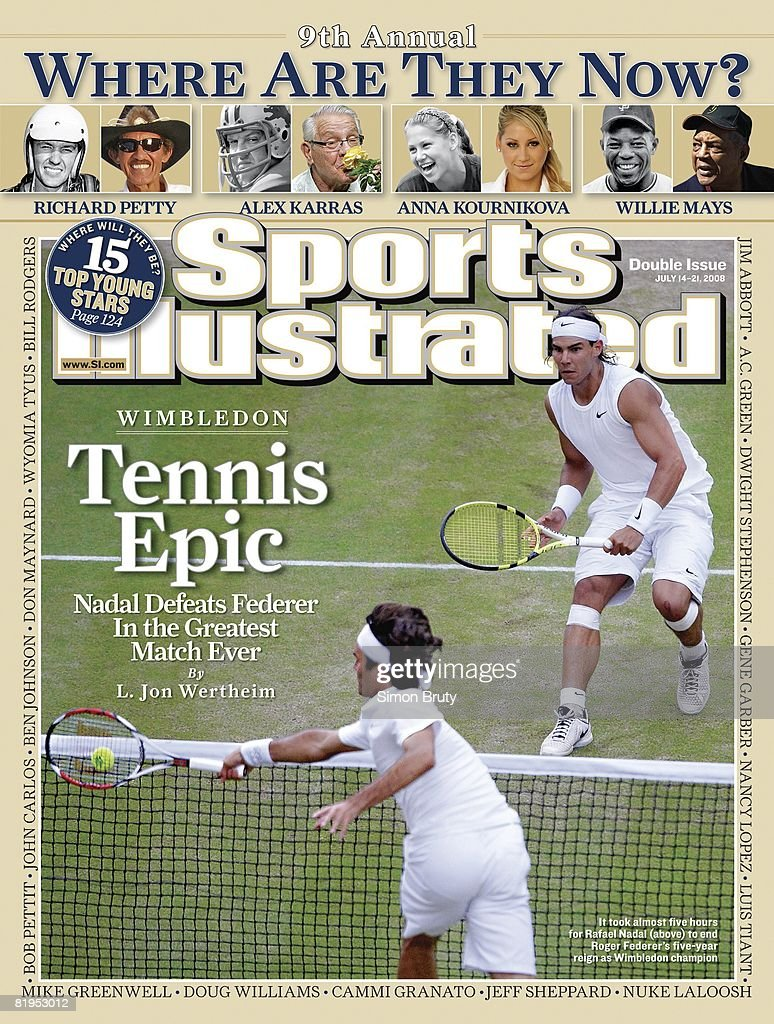 July 14 2008 July 21 2008 Sports Illustrated Cover Tennis Wimbledon Spain Rafael Nadal in action vs Switzerland Roger Federer during Finals at All...