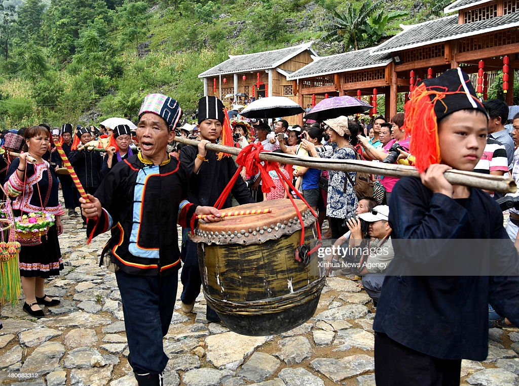 HECHI July 14 2015 Villagers of the Yao ethnic group sing folk songs to celebrate the Danu Festival in the Yao ethnic town of Sannong in Donglan...
