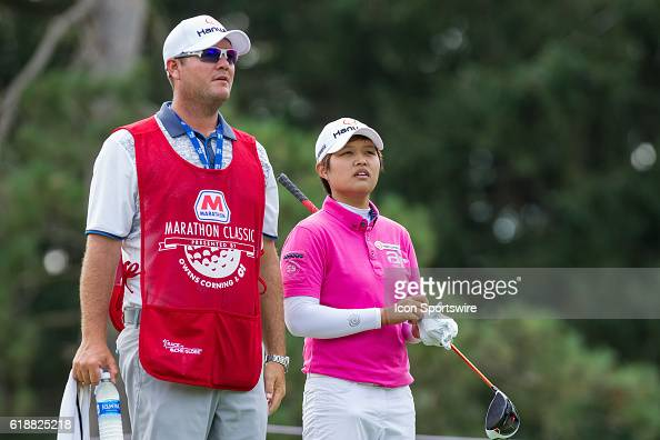 Haru Nomura of Japan waits to hit her tee shot on the No 15 hole during the first round of the LPGA Marathon Classic presented by Owens Corning and...