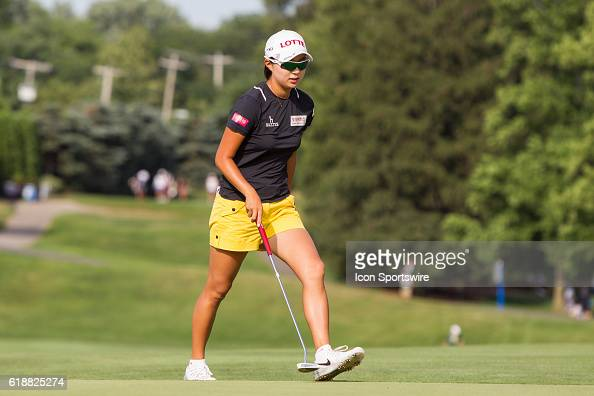 Hyo Joo Kim of South Korea walks to her ball on the No 9 green during the first round of the LPGA Marathon Classic presented by Owens Corning and OI...