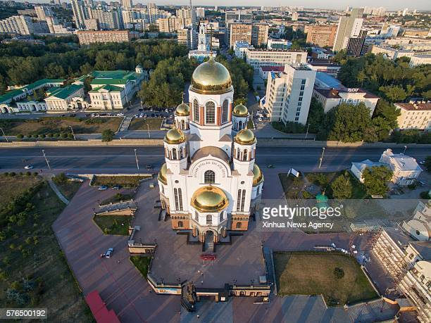 EKATERINBURG July 14 2016 The aerial photo taken on July 11 shows the Church of All Saints in Ekaterinburg Russia