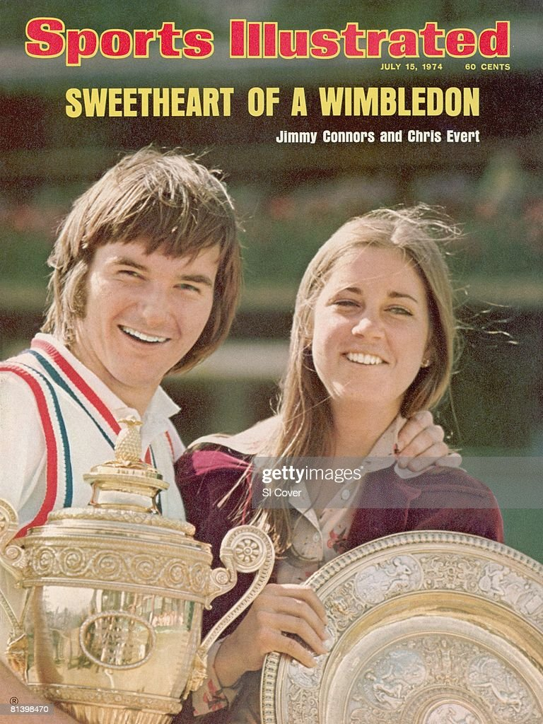 July 15, 1974 Sports Illustrated Cover, Tennis: Wimbledon, Closeup of USA Jimmy Connors (L) with Gentlemen's Singles trophy and USA Chris Evert (R) with Rosewater Dish trophy victorious after winning tournament at All England Club, London, England 7/6/1974